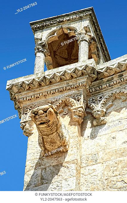 Medieval architectural details of Gargoils on the Italian Gothic Cathedral of Ostuni built between 1569-1495 .Ostuni, The White Town, Puglia, Italy
