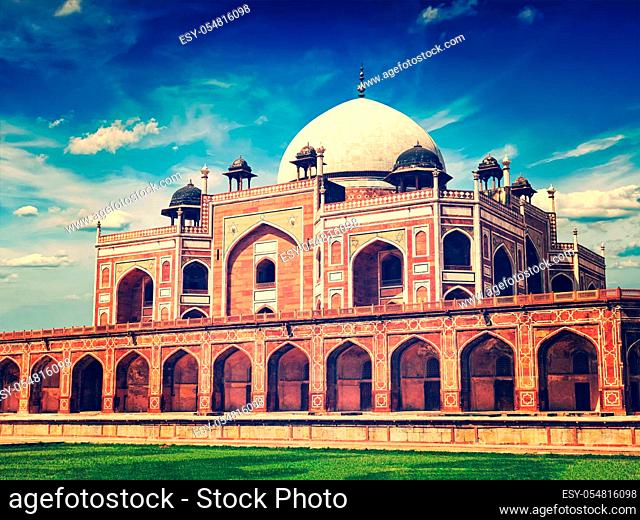 Vintage retro effect filtered hipster style image of famous tourist indian landmark Humayun's Tomb. Delhi, India. UNESCO World Heritage Site