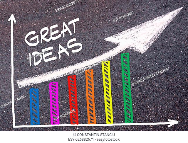 Colorful graph drawn over tarmac and word GREAT IDEAS with directional arrow, business design concept