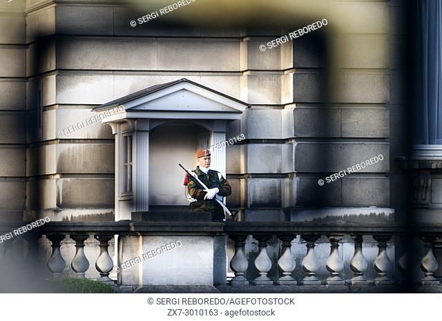Royal soldier, guard patrolling in front of a guard house, Royal Palace, Palais Royal Brussels, Belgium
