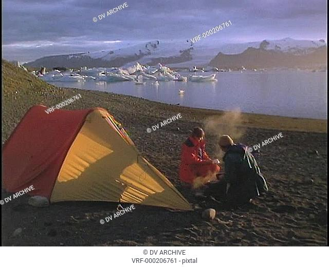 A couple camps at Arctic lake