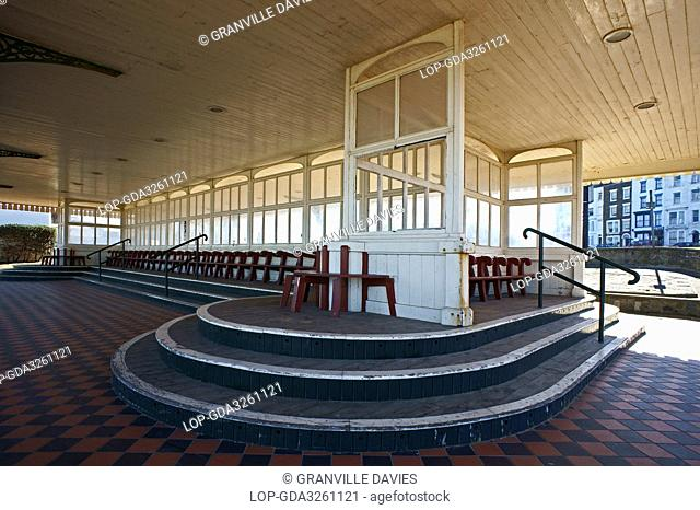 England, Kent, Margate. The Nayland Rock Shelter, a grade ll listed shelter on the seafront at Margate where T S Eliot wrote part lll of The Waste Land in 1921