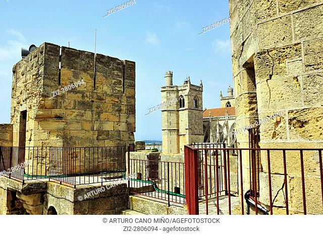 The donjon -tower- Gilles Aycelin of Archbishop's Palace, XIII-XIVth centuries. Narbonne city, Aude department, Occitanie region, France