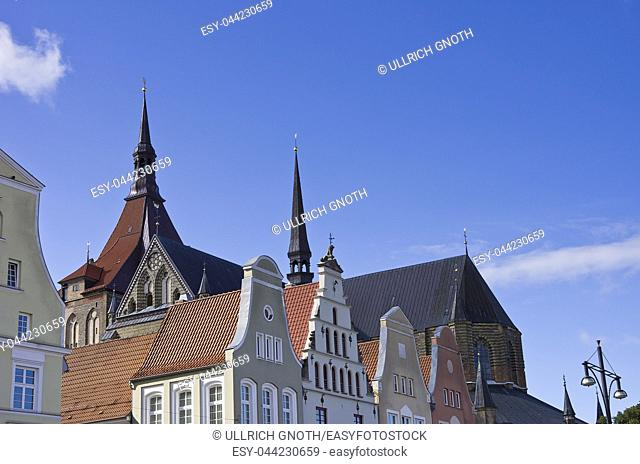 View across hanseatic gables and roofs as well as St. Mary's Church, New Market, Hanseatic City of Rostock, Mecklenburg-Pomerania, Germany