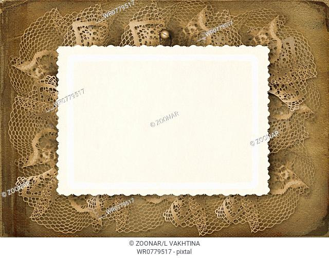 Grunge papers design in scrapbooking style with lace