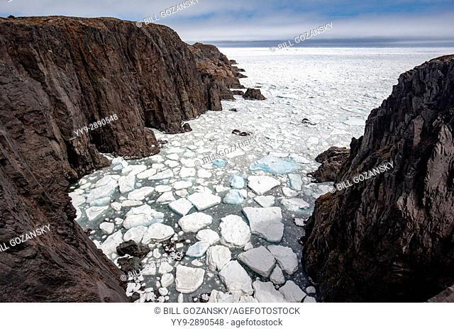 Rugged Coastline, Sea Stacks, and Sea Ice at Spillars Cove, near Bonavista, Cape Bonavista Peninsula, Newfoundland, Canada