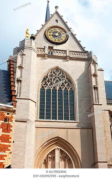 Tower with clock of the famous St. Peter's Church of Leuven. Built mainly in the 15th century in Brabantine Gothic style