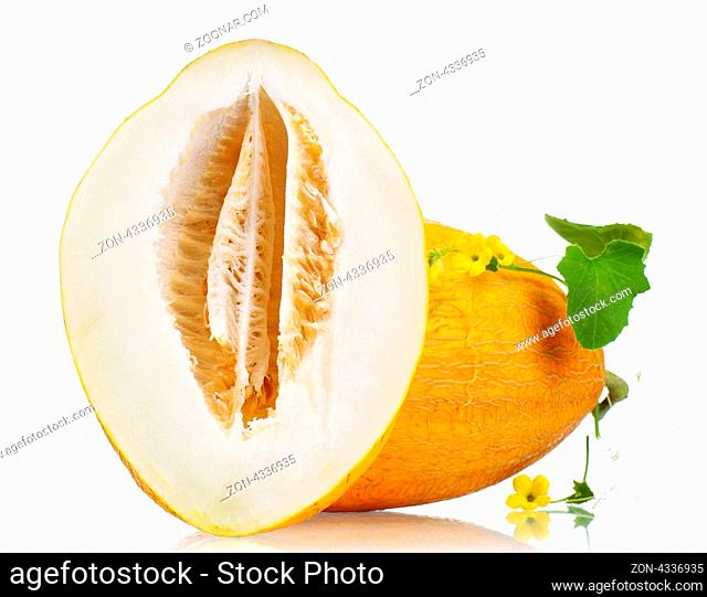 Ripe fresh and delicious melon isolated on white background