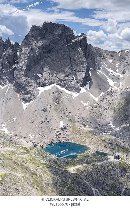 Lienz Dolomites, East Tyrol, Austria. The Karlsbader hut and the Lake Laserz