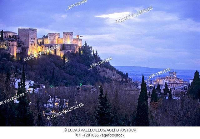 Alhambra and cathedral, as seen from Sacromonte troglodyte quarter Gipsy quarter, Granada, Andalusia, Spain, Europe