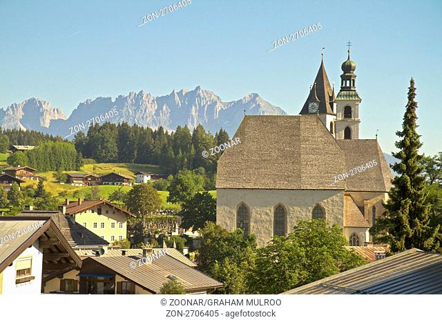 Austria Kitzbuhel View Of Wilder Kaiser Mountain