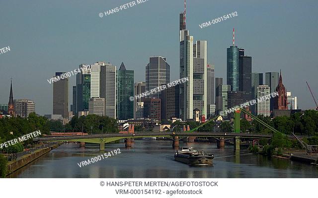 Skyline and Main River, Frankfurt am Main, Hesse, Germany