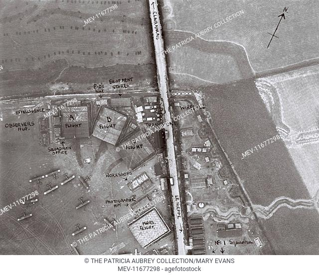 Aerial view of part of Clairmarais aerodrome, Pas de Calais, Northern France, with handwritten annotations, showing buildings and aeroplanes