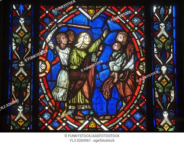 Stained glass windows depicting scenes from the life of Saint Blaise, made in the first quarter of the 13th century from Soissons, France