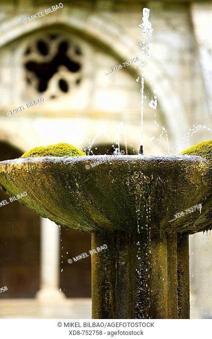 Fountain in a monastery cloister, Santa Maria de Iranzu monastery, Abarzuza, Navarra, Spain, Europe