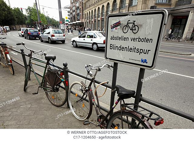 prohibition sign, no parking, orientation of blind people, no parking of bicycles at the handrail because this handrail is very helpful for blind people to find...