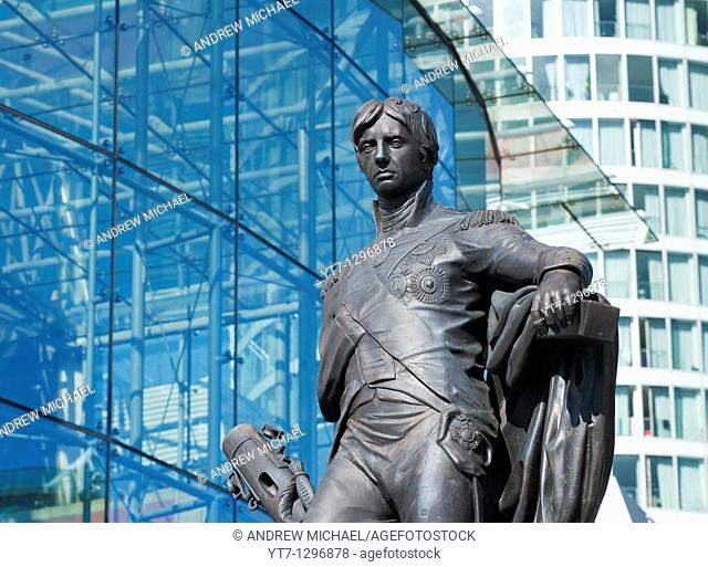 Bronze statue of Horatio Nelson in the Bullring, Birmingham, Great Britain, 2010