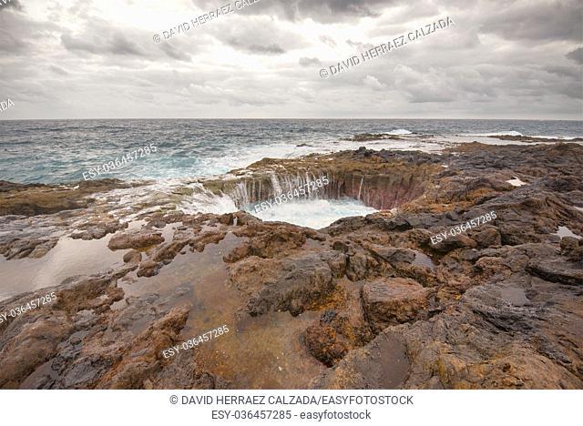 Blowhole, Bufadero de la Garita in Telde, Gran Canaria, Canary island, Spain