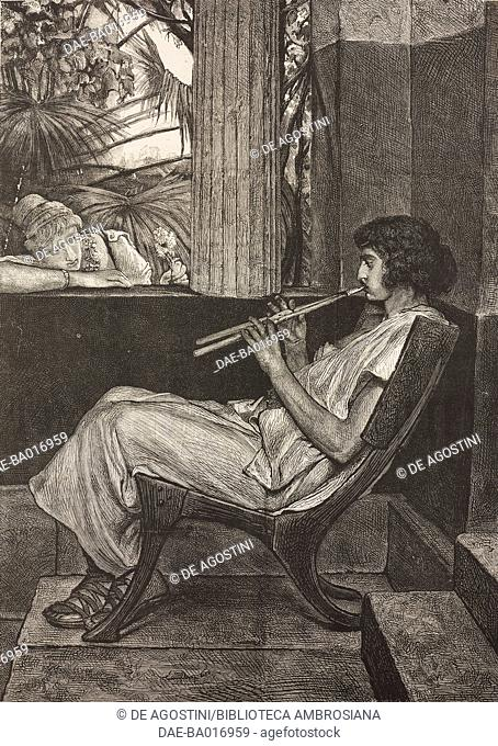 A young man from ancient Rome playing the flute, engraving based on a painting by Lawrence Alma-Tadema (1836-1912), illustration from La Ilustracion Espanola y...
