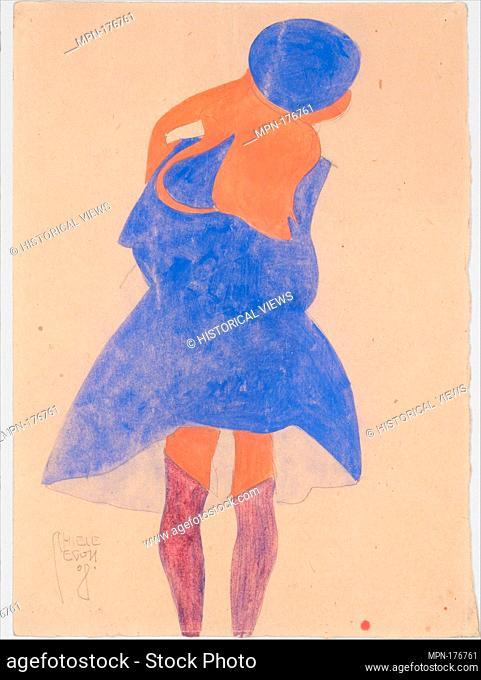 Standing Girl, Back View. Artist: Egon Schiele (Austrian, Tulln 1890-1918 Vienna); Date: 1908; Medium: Gouache, watercolor