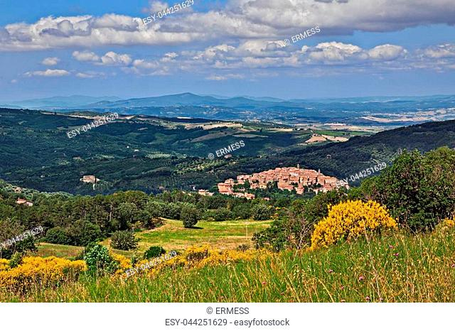 Seggiano, Grosseto, Tuscany, Italy: landscape of the countryside with tge ancient hill town on the slopes of Mount Amiata