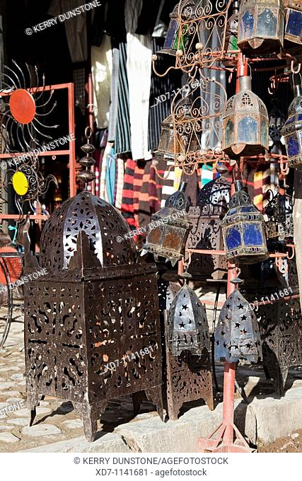 Morocco Rif Mountains Chefchaouen Gift shop off Plaza Uta el-Hammam with souvenirs for sale