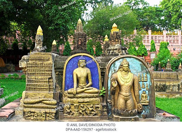 Statue of Lord Buddha at UNESCO World heritage Mahabodhi temple ; Bodhgaya ; Bihar ; India