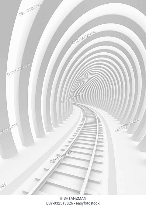Abstract architecture. Railroad tunnel. 3d image