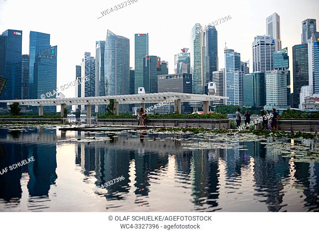 Singapore, Republic of Singapore, Asia - A view of the city skyline of the central business district in Marina Bay