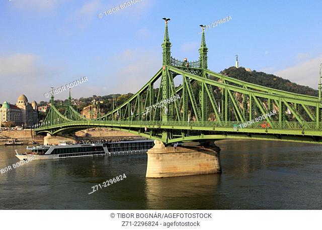 Hungary, Budapest, Liberty Bridge, Szabadság H'd, Danube River, cruise ship