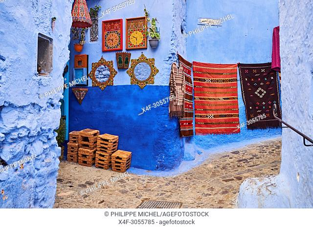 Morocco, Rif area, Chefchaouen (Chaouen) town, the blue city