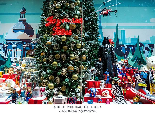 Paris, France, Shop Window Front, French Department Store, Galeries Lafayettes, Christmas Decorations