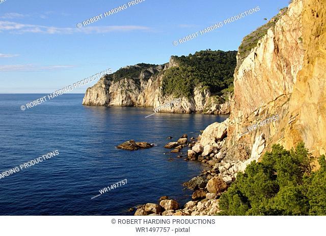 The rugged coast near Sa Tuna, Costa Brava, Catalonia, Spain, Mediterranean, Europe