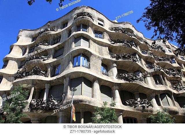 Spain, Catalonia, Barcelona, Casa Mila, La Pedrera, modernist architecture