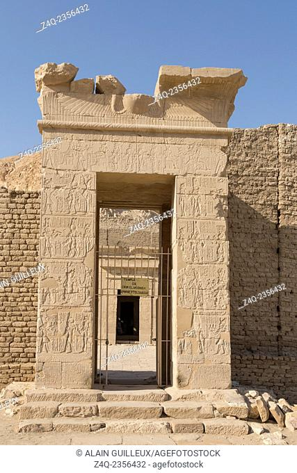 UNESCO World Heritage, Thebes in Egypt, ptolemaic temple of Deir el Medineh. First gate