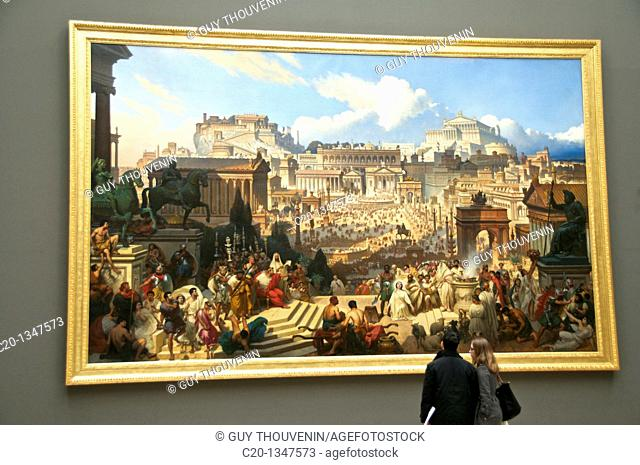 Beaux Arts Museum visitors in front of painting by Joseph Desirée Court, Saint Agnes martyr ROUEN Normandy 76 France