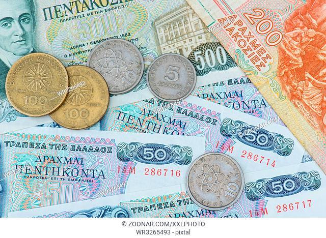 alte Münzen und Banknoten der griechischen Drachme