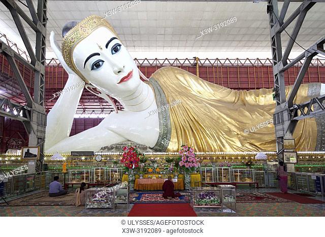 Chaukhtatgyi Paya, lying Buddha, Yangon, Myanmar, Asia