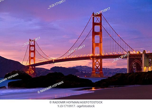 The Golden Gate Bridge at night, California, USA