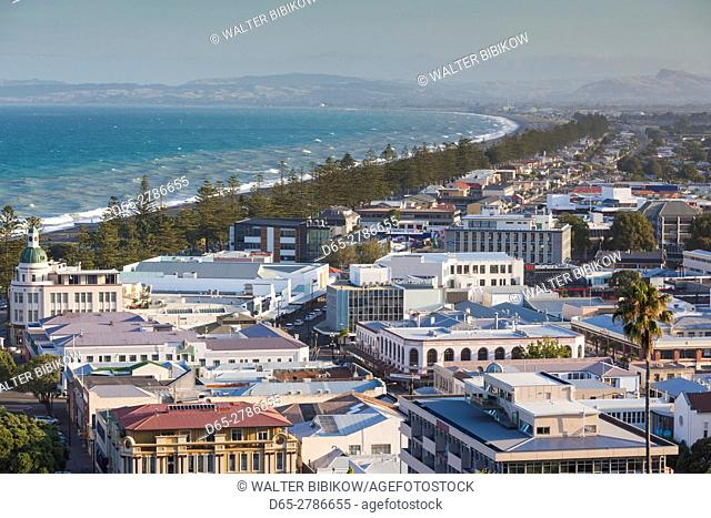 New Zealand, North Island, Hawkes Bay, Napier, elevated city view, late afternoon