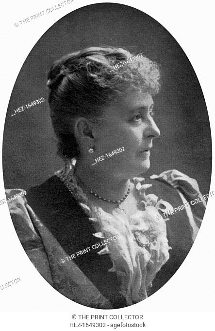 Caroline Lavinia Scott Harrison, wife of American president Benjamin Harrison, late 19th century, (1908). Caroline Harrison (1832-1892) was First Lady of the...