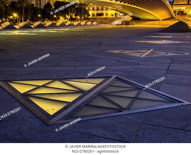 Illuminated windows of the subway station, Valencia, Spain
