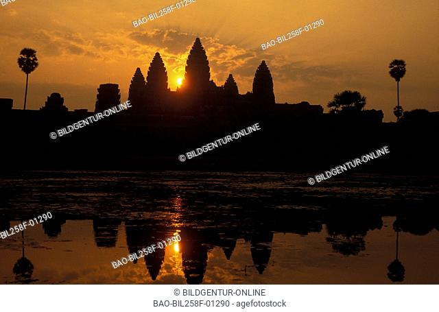 The ruins of the Angkor Wat Tempel in the ruins city of Angkor in Cambodia in southeast Asia