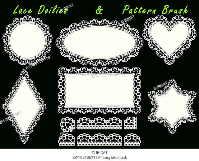 Set of design elements, lace paper doily and pattern brush, template for cutting, greeting element, laser cut. Vector illustrations