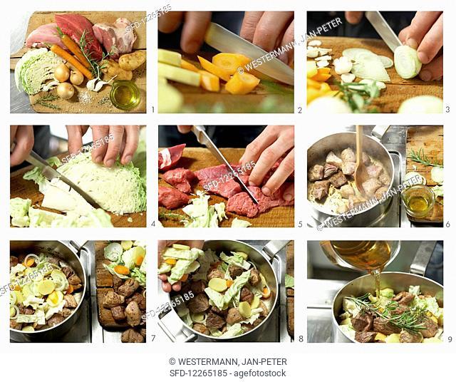 Pichelsteiner (a Bavarian meat stew) being prepared