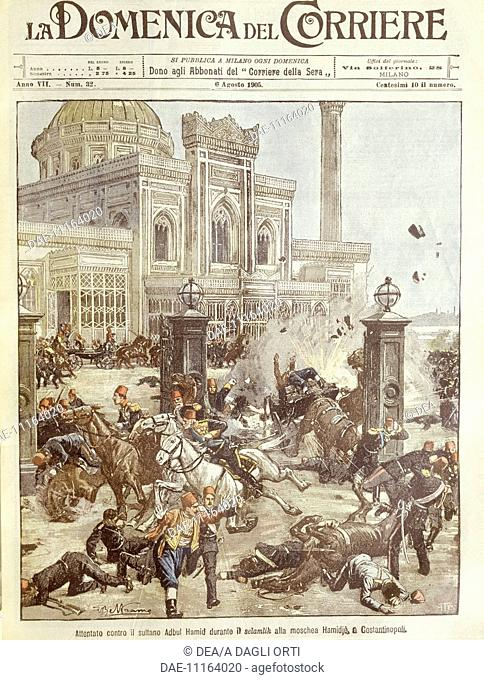 History, 20th century - Assassination attempt against Sultan Abdul Hamid at Constantinople. Cover illustration from La Domenica del Corriere