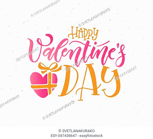 Hand sketched Happy Valentine's Day text as Valentine's Day logotype, badge/icon. Valentine's Day postcard/card/invitation/flyer/banner template