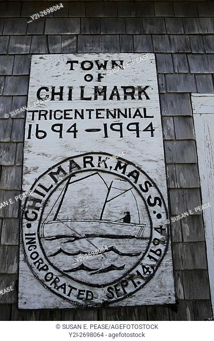 Tricentennial sign in the village of Menemsha, within the town of Chilmark, Martha's Vineyard, Massachusetts, United States, North America