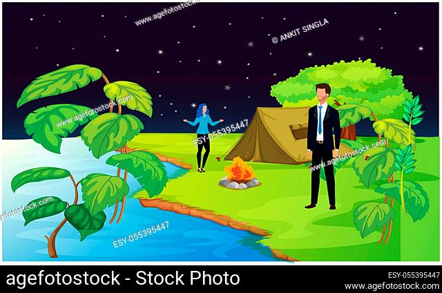 Couple visiting forest garden and enjoying