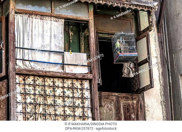 House with window, Chor Bazaar, Mumbai, Maharashtra, India, Asia